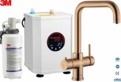Gouden Multi-Tap 3-in-1 kokend water kraan 3in1 Multi -Tap kokend water kraan & 3M waterfilter - L-uitloop- Copper Gold
