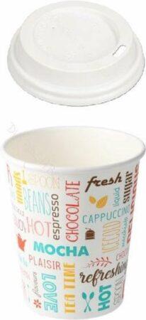 "Afbeelding van Packadi Kartonnen Koffiebeker 8oz 240ml ""Parole"" + witte deksels - 100 Stuks - wegwerp papieren bekers - drank bekers - milieuvriendelijk"