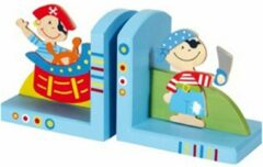 Blauwe Simply for Kids Piraat - Boekensteun - Blauw - Hout - Set van 2