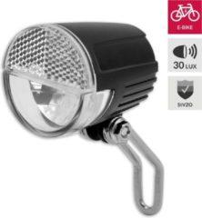 Zwarte Discountershop Fietskoplamp E-bike tot 60 meter zien en tot 3000 meter gezien worden - 6-36V. Blister. StVZO