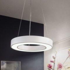 Wohnling LED-Deckenleuchte CIRCLE rund matt weiß Metall EEK A+ Büro-Deckenlampe 48 Watt Ø 60 cm Design Arbeitsplatz Hängelampe 4080 Lumen kaltweiß oh