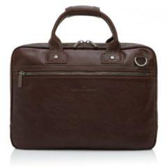 Donkerbruine Castelijn & Beerens Firenze businesstas van leer met 15,6 inch laptopvak