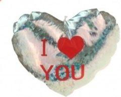 Merkloos / Sans marque Pluche glimmend hart zilver met tekst I love you - Valentijnscadeaus