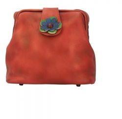 Immagine di San Lorenzo Firenze Borsetta Fiore a tracolla Rosso chiaro Made in Italy produzione di pelletteria toscana