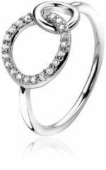 ZINZI zilveren ring 2 ronde vormen verbonden wit ZIR1782