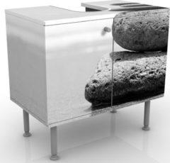 PPS. Imaging Waschbeckenunterschrank - Sand Stones No.2 - Badschrank Weiß Grau