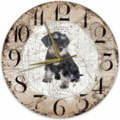 Bruine Creatief Art Houten Klok - 30cm - Hond - Dwergschnauzer