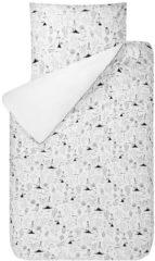 Witte Bink Bedding Indiana - Dekbedovertrek - Ledikant - 100x135 cm - Geen sloop - Wit/zwart