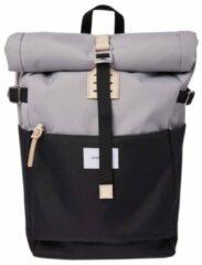 Sandqvist Ilon Backpack multi grey/black with natural leather Laptoprugzak