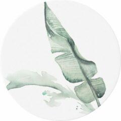 Groene Made on Friday - Behangcirkel/Muursticker Leaf 80x80cm - Zelfklevend behang met matte textiel uitstraling