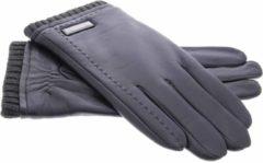 IMoshion Zwarte echt lederen touchscreen handschoenen met zilverkleurig detail - Maat XL