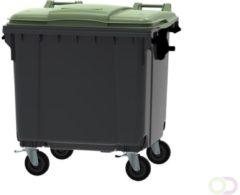 Ese Afvalcontainer 1100 liter grijs/groen 4 wielen