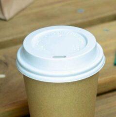Packadi Kartonnen Koffiebeker 8oz 240ml bruin + witte deksels - 100 Stuks - wegwerp papieren bekers - drank bekers - milieuvriendelijk