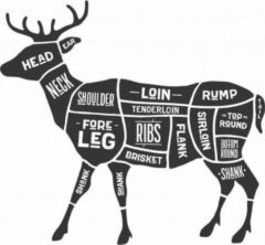 Zwarte Versierendoejezo Sticker cuts of venison Slager hert