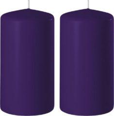 Groene Enlightening Candles 2x Paarse cilinderkaarsen/stompkaarsen 6 x 12 cm 45 branduren - Geurloze kaarsen paars - Woondecoraties