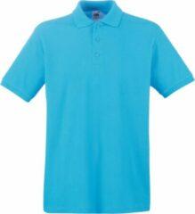Azuurblauwe Fruit Of The Loom Premium Heren Poloshirt Met Korte Mouwen (Azure Blauw)