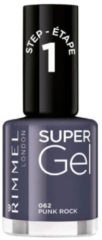 Grijze Rimmel London SuperGel nagellak - 062 Punk Rock