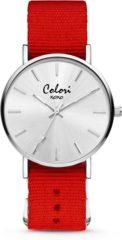 Colori XOXO 5 COL553 Horloge geschenkset met Armband - Nato Band - Ø 36 mm - Rood / Zilverkleurig