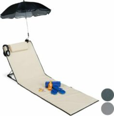 Relaxdays strandmat - groot - ligbed - hoofdsteun - rugleuning - opvouwbaar - draagbaar beige