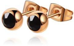 Roze Cilla Jewels oorstekers Rose Edelstaal Zwarte steen