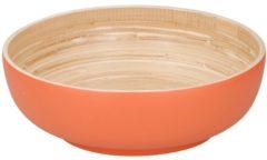 Merkloos / Sans marque Bamboe serveerschaal oranje 25 cm - Saladeschaal - Slakom - Slaschaal - Slabak - Bamboe servies