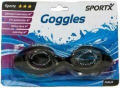 SportX Anti chloor zwembril zwart voor volwassenen