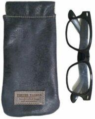 Toetie & Zo Handgemaakte Leren Brillenkoker Blauw - Donkerblauw - Jeans - Knijpsluiting - Brillenetui - Brillentas - Leder - Snappouch