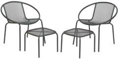 Antraciet-grijze Vigo balkonset antraciet stoelen + voetenbank