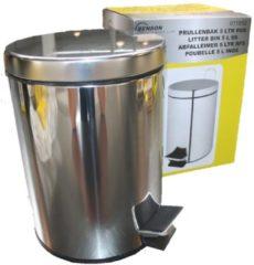 Zilveren 2Clean Pedaalemmer RVS - 5 Liter