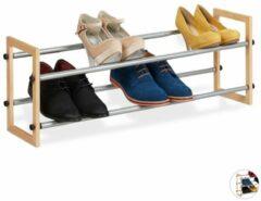 Naturelkleurige Relaxdays schoenenrek uitschuifbaar - schoenenkast - opbergrek schoenen - metaal - hout 2