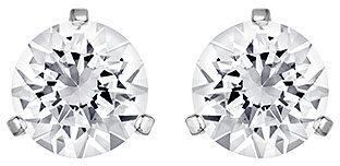 Afbeelding van Swarovski Solitaire Pierced Earrings, White, Rhodium Plating White Rhodium-plated