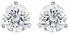 Swarovski Solitaire Pierced Earrings, White, Rhodium Plating White Rhodium-plated