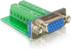 Groene DeLOCK Adapter VGA female <gt/> Terminal Block 16pin 16pin Groen kabeladapter/verloopstukje