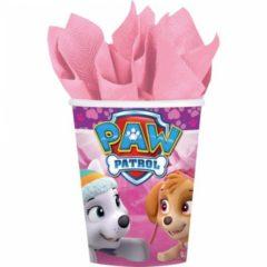 AMSCAN - 8 roze Paw Patrol bekers - Decoratie > Bekers, glazen en bidons