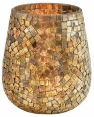 Goudkleurige Bellatio Design Glazen Design Windlicht/kaarsenhouder In De Kleur Mozaiek Champagne Goud Met Formaat 15 X 13 Cm. Voor Waxinelichtjes