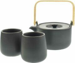 Orange85 Theepot Zwart - 50cl - Met 2 Kopjes - Bamboe deksel - Aardewerk