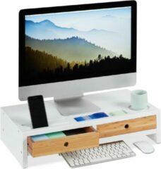 Bruine Relaxdays Monitor standaard - beeldschermverhoger - 2 lades - bamboe - wit
