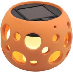 Konstsmide LED solar tafellamp bol keramiek Genova 10cm koelwit 2000K brandduur volle accu 6 uur