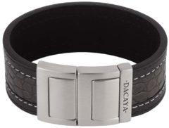 Grijze Dacaya armband Croco Grey Black 28mm F116428
