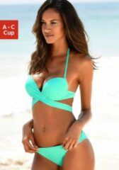 Blauwe S.Oliver RED LABEL Beachwear push-upbikini met extra strikbandjes