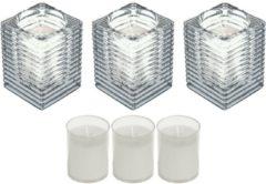 Candles by Spaas 3x Transparante glazen kaarsenhouders met kaars en 3x navullingen 7 x 10 cm 24 branduren - Geurloze kaarsen - Woondecoraties