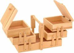 Beige Merkloos / Sans marque Uitklapbare houten naaikist met handgreep
