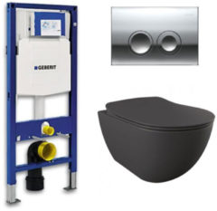 Douche Concurrent Geberit UP 100 toiletset - Inbouw WC Wandcloset - Creavit Mat Antraciet Rimfree Geberit Delta-21 Glans Chroom