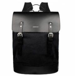 Zwarte Sandqvist Rugzakken Hege Black Duurzaam Leder en Canvas - 18 liter