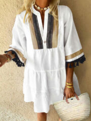 Newchic Flare Sleeve Loose Ethnic Casual Tassels Mini Pullover Dress