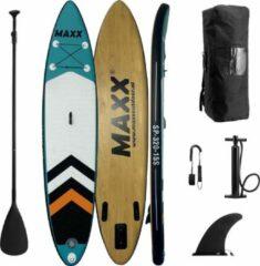 """Blauwe Maxxoutdoor - Ladoga - 10'6"""" - Opblaasbaar SUP Board - 2021 - 320cm - 15PSI - Blue & Wood"""