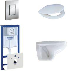 Witte Adema Classico toiletset bestaande uit inbouwreservoir, toiletpot, toiletzitting en bedieningsplaat chroom 0729205/0261520/4345100/0720001