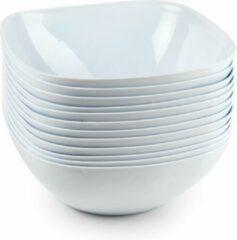 Forte Plastics 6x Schalen/schaaltjes vierkant wit - 2,7 l - Salade/sla/snacks serveren - Herbruikbare schalen/kommen van plastic - Keukenbenodigdheden
