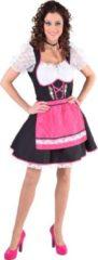 Magic by freddy Zwarte dirndl jurk met roze schort en edelweiss - Oktoberfest kleding dames maat 50/52 (XXL)