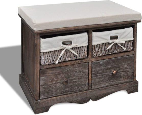 Afbeelding van VidaXL Houten opslagbank met 2 lades en 2 manden bruin